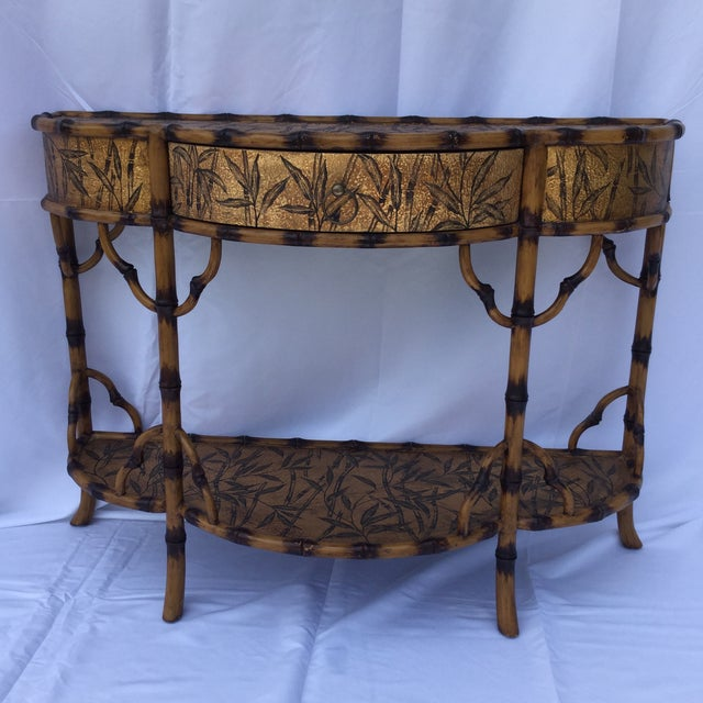 Gold and Faux Burnt Bamboo Console Table For Sale - Image 10 of 10