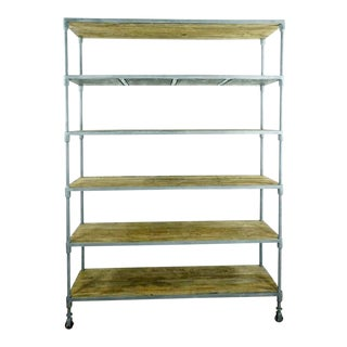 Industrial Restoration Hardware Steel and Elm Shelving Unit