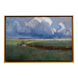 Richard Kaiser-River Running Through a Countryside Landscape-19th Century Oil Painting For Sale