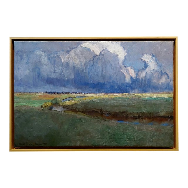 """Richard Kaiser """"River Running Through a Countryside Landscape"""" Oil Painting, 19th Century For Sale"""