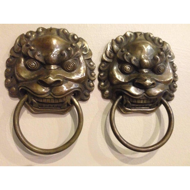 Pair Vintage Lion Brass Knockers Medium Size For Sale - Image 9 of 13