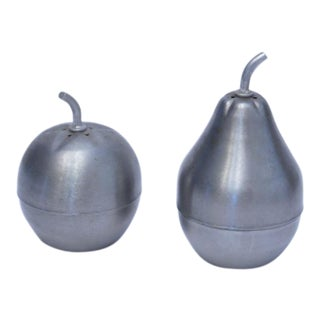 Vintage Pear & Apple Metal Salt & Pepper Shakers - A Pair For Sale