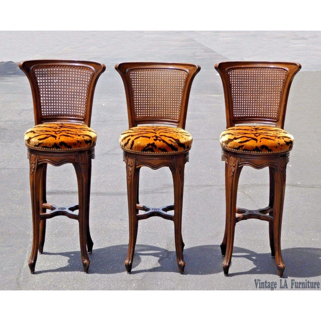 Vintage French Country Wood & Cane Barstools - Set of 3 - Image 2 of 11
