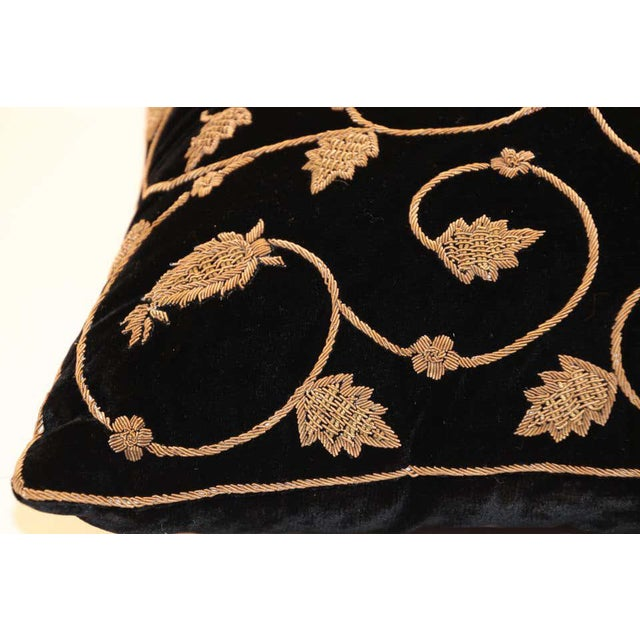 Metal Black Silk Velvet Throw Pillow Embroidered with Gold Design For Sale - Image 7 of 11