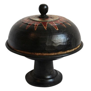 Antique Balinese Covered Wood Pedestal Stand For Sale