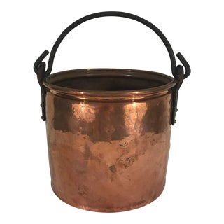 Vintage Hammered Copper Bucket For Sale