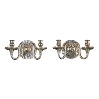 Caldwell Mirrored Backplate Sconces - a Pair For Sale