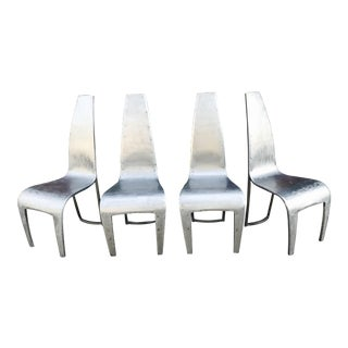 Space Age Steel Indoor/Outdoor Dining Chairs - Set of 4 For Sale