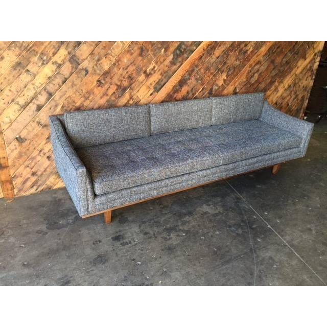 Gray Mid Century Style Sofa With Walnut Trim For Sale - Image 8 of 8