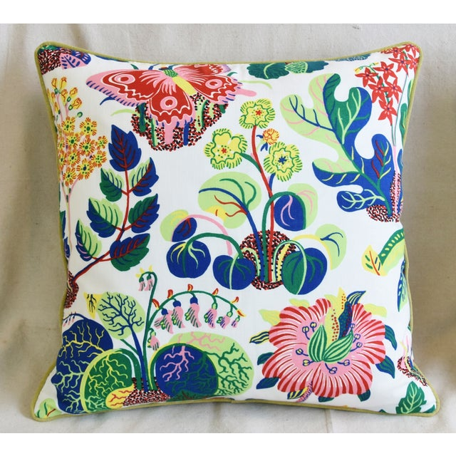 """Mid-Century Modern Schumacher Exotic Butterfly Floral Feather/Down Pillows 24"""" Square - Pair For Sale - Image 3 of 13"""