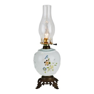 Vintage Hand Painted Electrified Oil Table Lamp For Sale