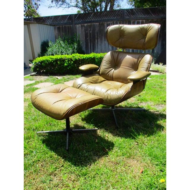 Frank Doerner Mid-Century Modern Chair & Ottoman Set Selig Plycraft Style - Image 7 of 11