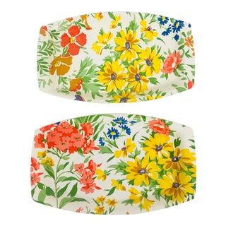 Petite Printed Floral Laminated Trays - A Pair