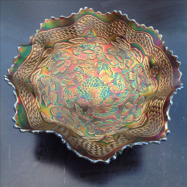 Electric Blue Carnival Glass Two Flowers Bowl. This bowl was produced by Fenton glass over a hundred years ago. The...