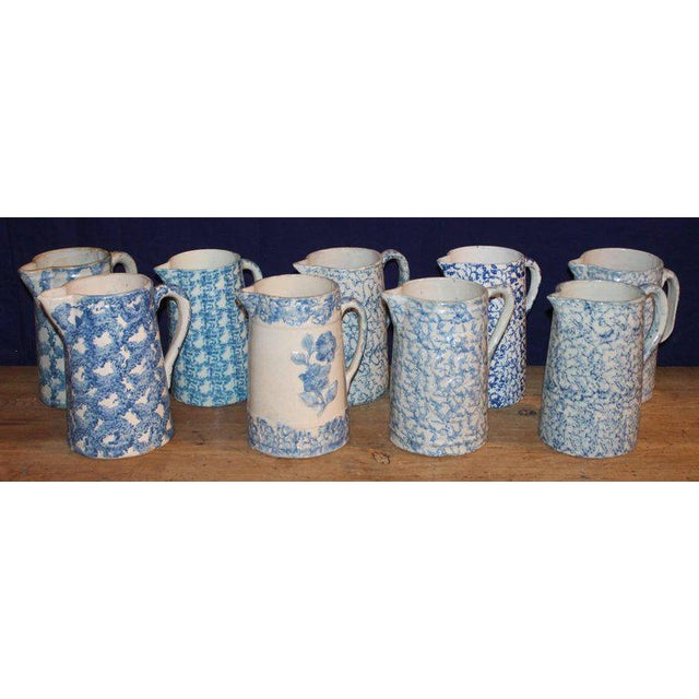 Blue 19th Century Sponge Ware Pitchers, Nine Pcs. Collection For Sale - Image 8 of 13