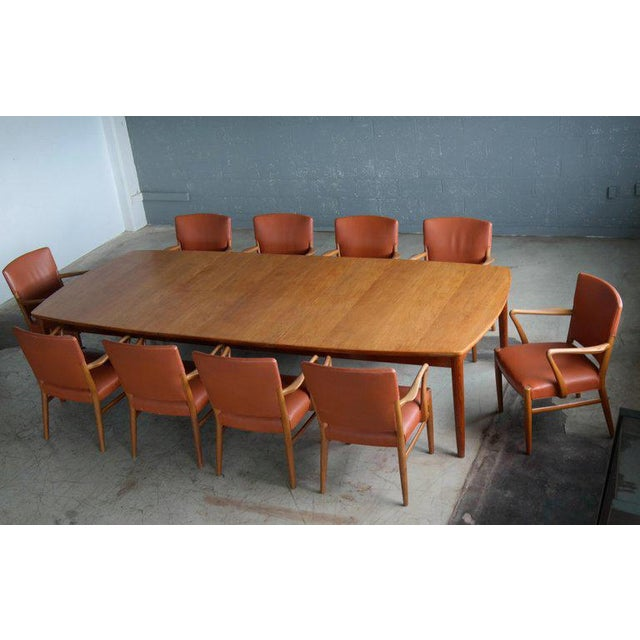 Fritz Hansen Attributed Large Conference or Dining Table Set Eight Chairs For Sale - Image 12 of 12
