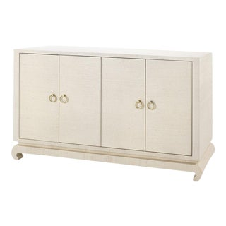 Bungalow 5 Meredith Lacquered Natural Grasscloth 4-Door Sideboard Console Cabinet For Sale