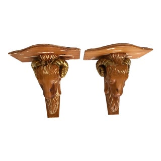 Vintage Rams Head Wall Brackets- a Pair For Sale