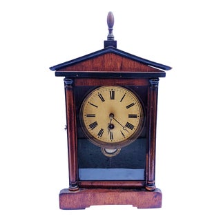 Late 19th Century American Empire Carved Wood Mantel Shelf Clock For Sale