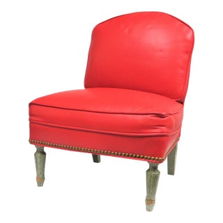 Diminuative Louis XVI Style Red Leather Slipper Chair For Sale