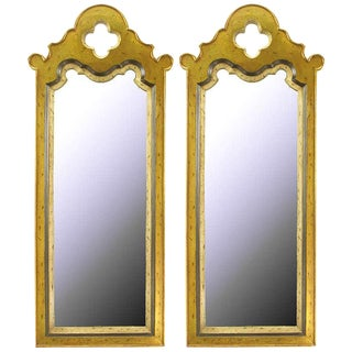 Pair of Gilt Moroccan Style Wall Mirrors For Sale