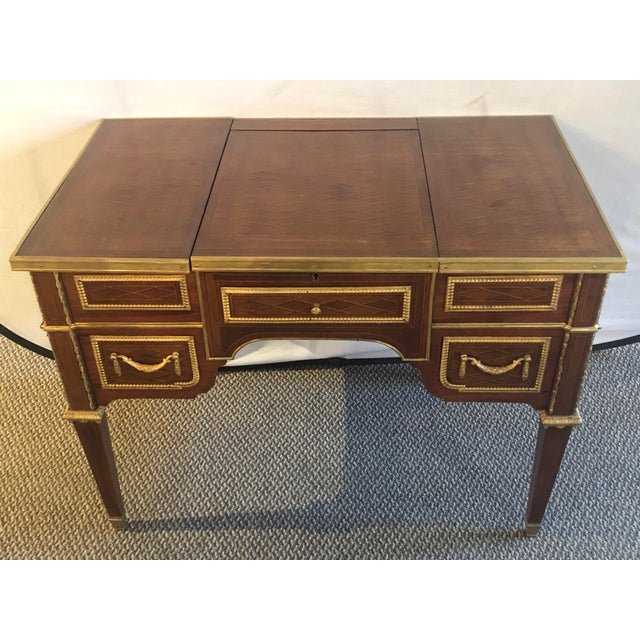 French 19th or early 20th century Louis XVI style gilt bronze mounted parquetry & marquetry dressing table, desk or vanity...