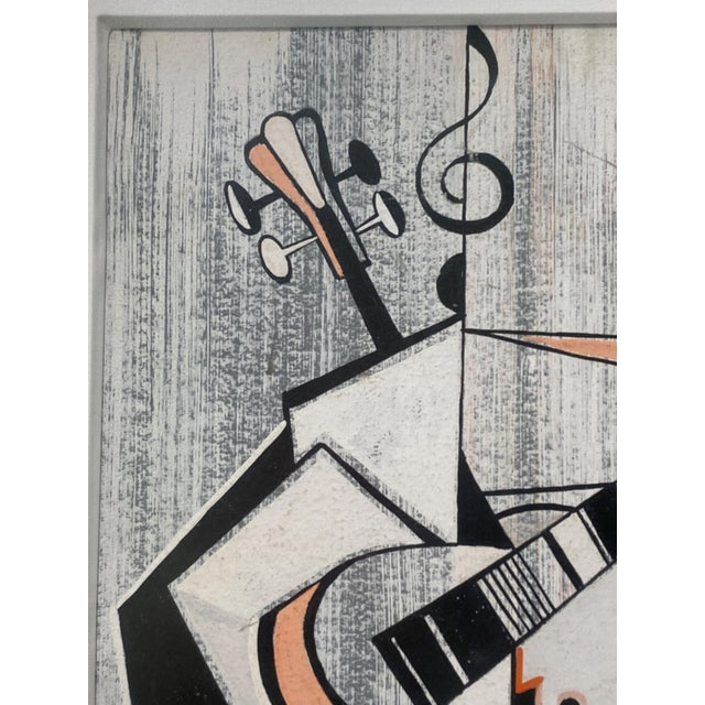 Paper Mid-Century Modern Cubist Pastels Painting of Guitar For Sale - Image 7 of 13