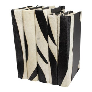 Zebra Hide Collection Books - Set of 5 For Sale