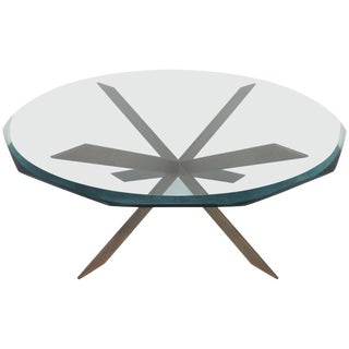 Leon Rosen for Pace Bronze X-Form Coffee Table For Sale