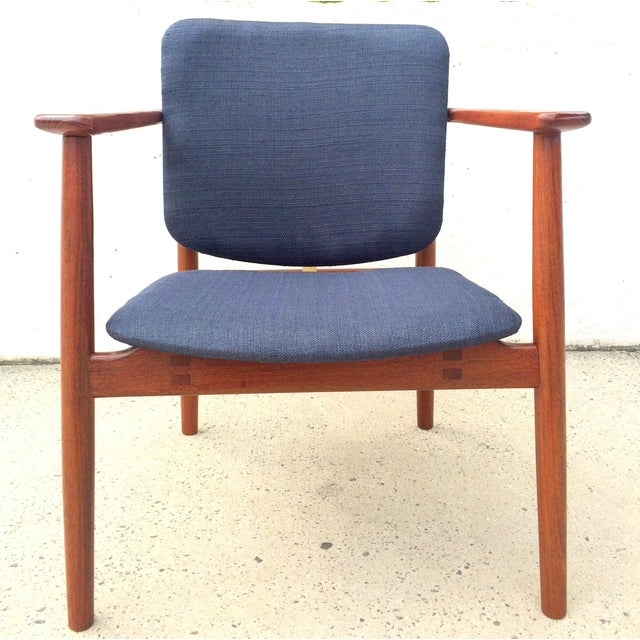 Danish Modern Danish Modern Børge Mogensen Lænestol Armchair in Blue For Sale - Image 3 of 10
