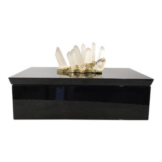 Modern Black Lacquered Box With Mounted Spike Quartz For Sale