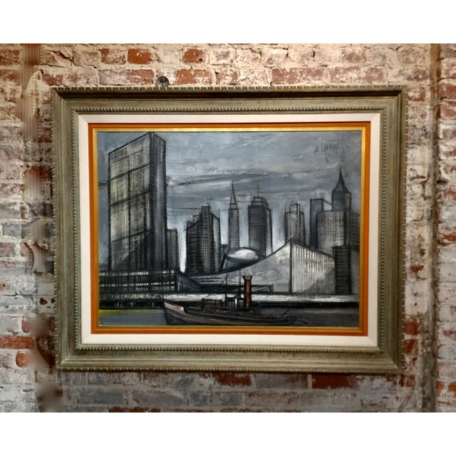 Regis De Cachard - New York Skyline 1961 -Oil Painting For Sale - Image 10 of 10