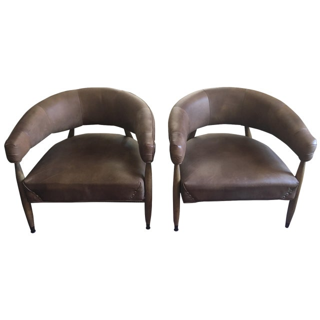 Restoration Hardware Leather Chairs - A Pair For Sale