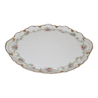 White Floral Gold Rimmed Limoges Theodore Haviland Platter from the 1940s For Sale