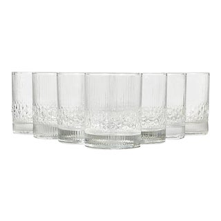 1960s Finnish Glass Rocks Tumblers, Set of 8 For Sale