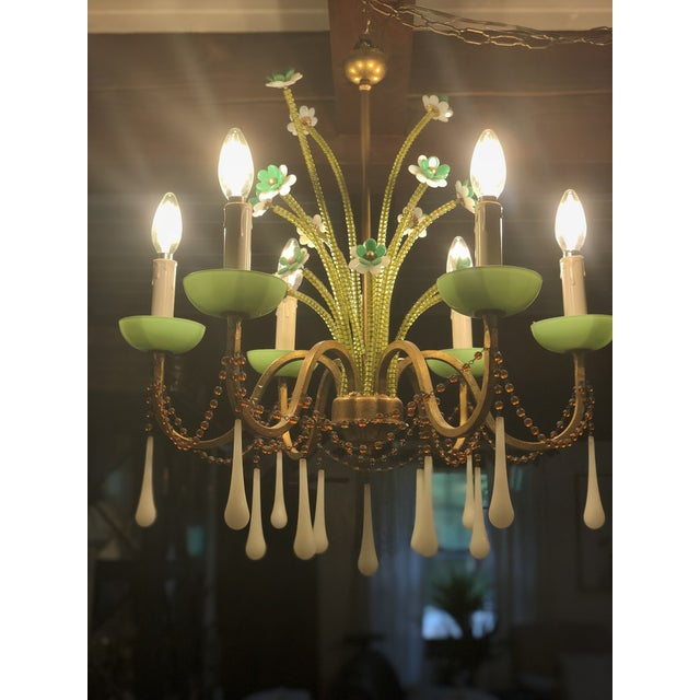 Anthropologie Jade Milk Glass Chandelier For Sale In Providence - Image 6 of 6