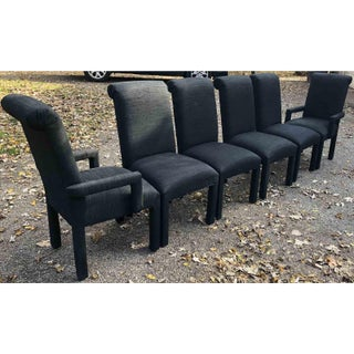 1980s Vintage Hollywood Regency Black Dining Chairs - Set of 6 Preview