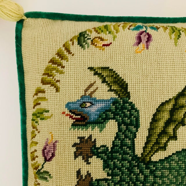 Vintage Ca 1950s Winged Dragon Floral Boxed Needlepoint Pillow With Tassels For Sale - Image 4 of 11