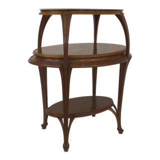 French Art Nouveau Walnut Oval Shaped 3 Tier Etagere Table For Sale