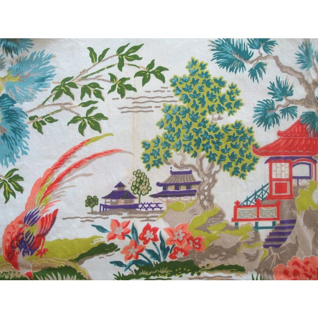 Chinoiserie Pagoda Cotton Fabric - 4.8 Yards - Image 6 of 6