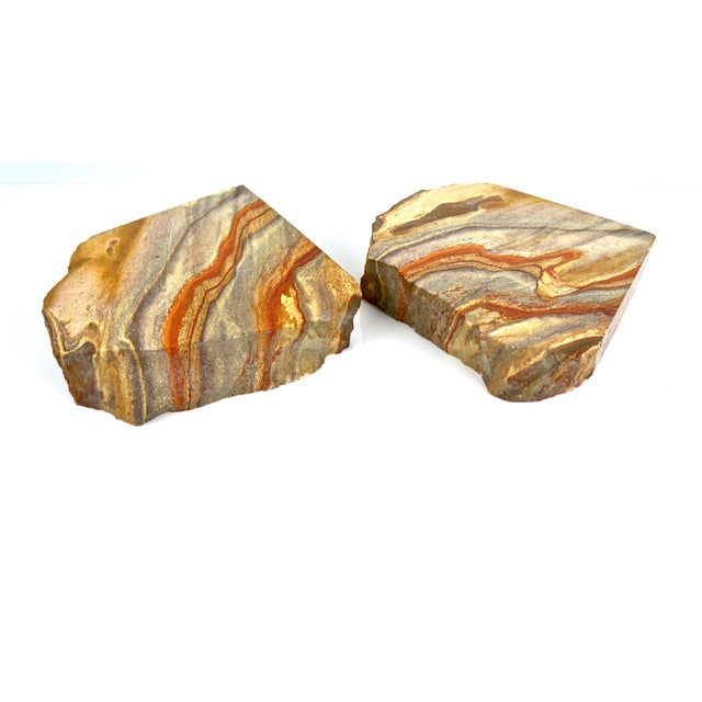 Vintage Petrified Wood Stone Geode Rock Bookends - a Pair For Sale - Image 4 of 6
