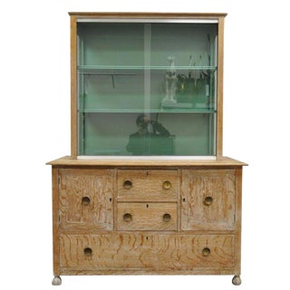 Vintage Art Deco James Mont Style Cerused Oak China Display Cabinet