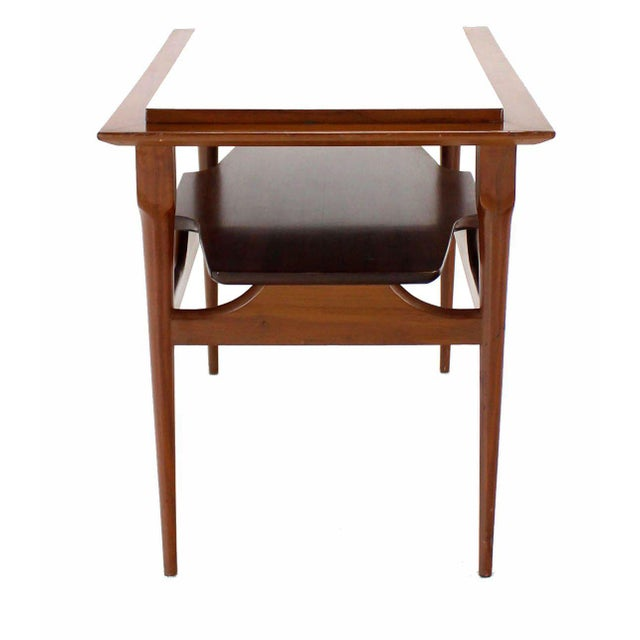 Early 20th Century Pair of Mid Century Modern Walnut One Drawer End Tables or Night Stands For Sale - Image 5 of 9