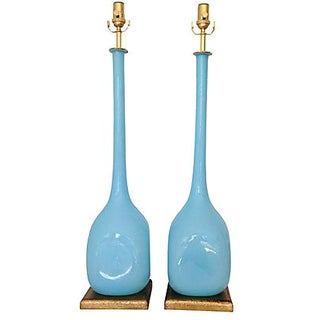 Murano Blue Opaline Lamps - A Pair