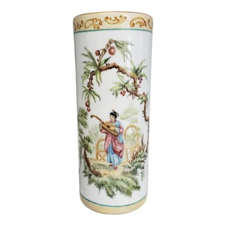 1880 French-American Chinoiserie Style Hand Painted Porcelain Wig Stand Signed H. deBaroncelli For Sale