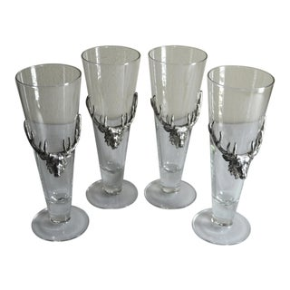 Set of 4 Arthur Court Stag/Deer Tall Beer/Pilsner Glasses
