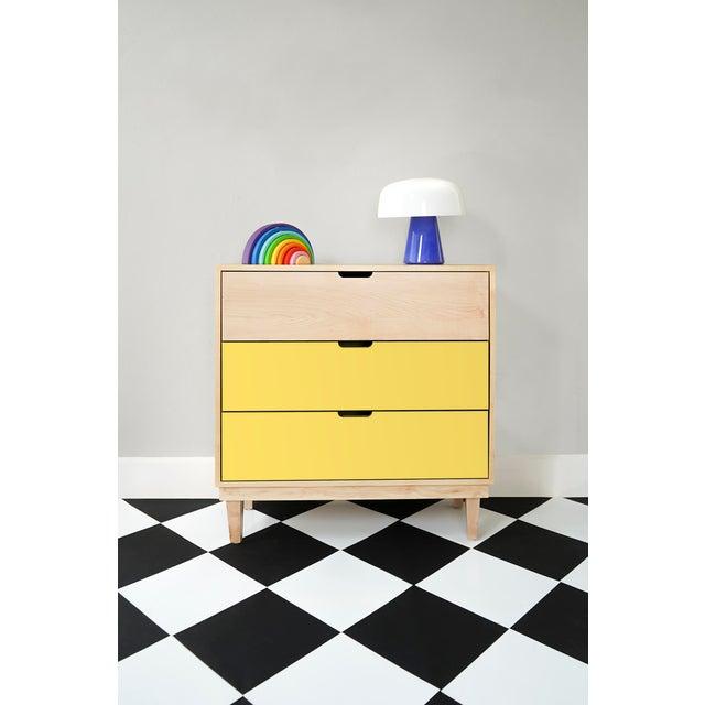 Modern Nico & Yeye Kabano Modern Kids 3-Drawer Dresser Solid Maple and Maple Veneers Yellow For Sale - Image 3 of 5