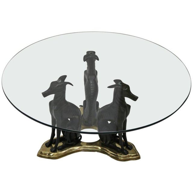 Three Bronze Greyhounds with a Glass Top Coffee Table by Maitland Smith - Image 7 of 7