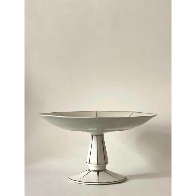 Antique cake stand/fruit bowl made in 1920s-30s by Limoges white porcelain with silver edging, stamped great condition,...