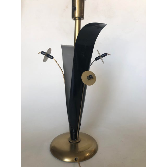 Metal Pair of Mid Century Brass and Black Metal Willow Table Lamps For Sale - Image 7 of 11